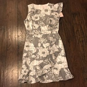 Floral black white semi formal dress